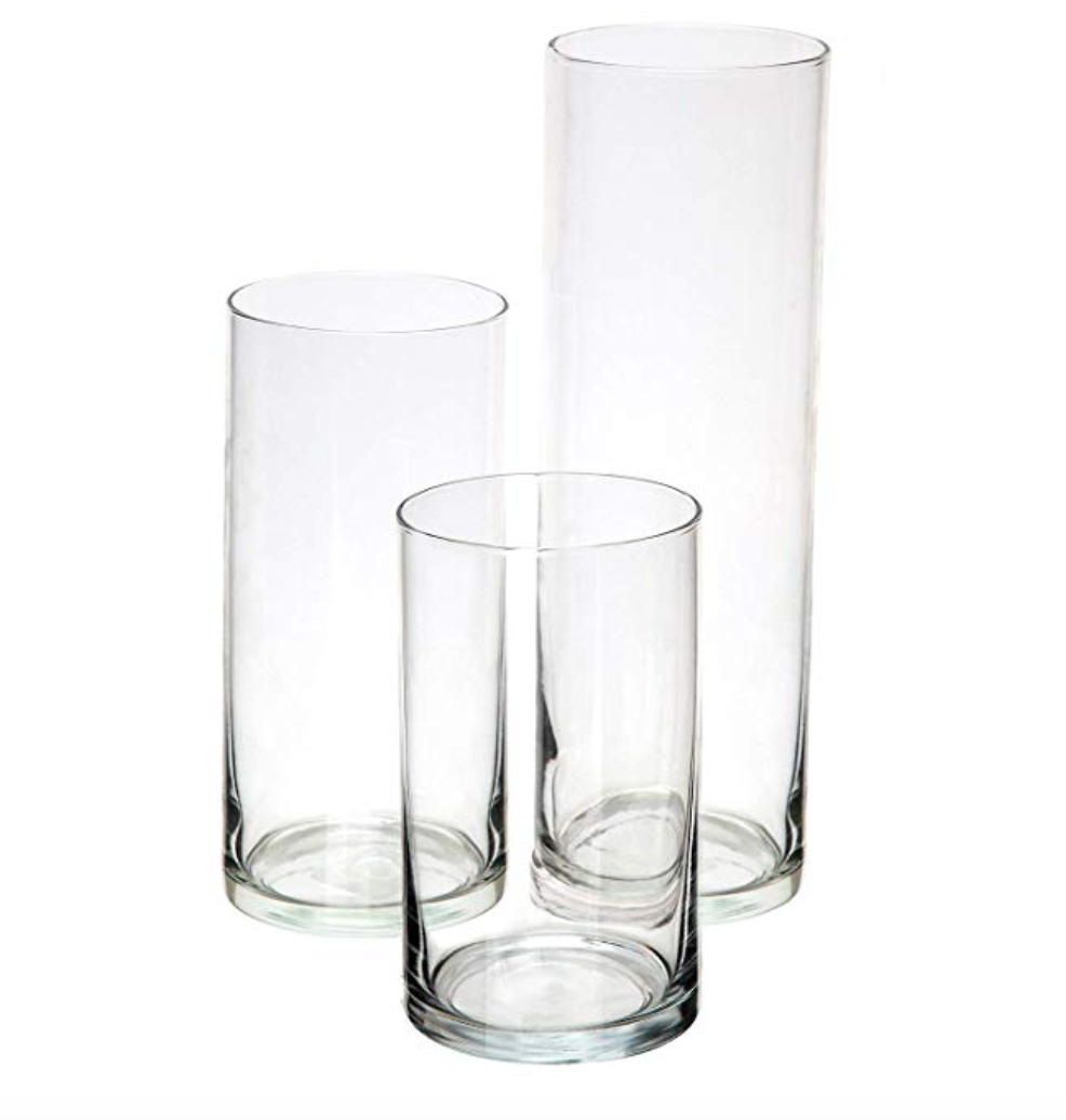 """Clear Glass Cylinders (Set of 3)  6"""", 7.25"""", 9"""""""