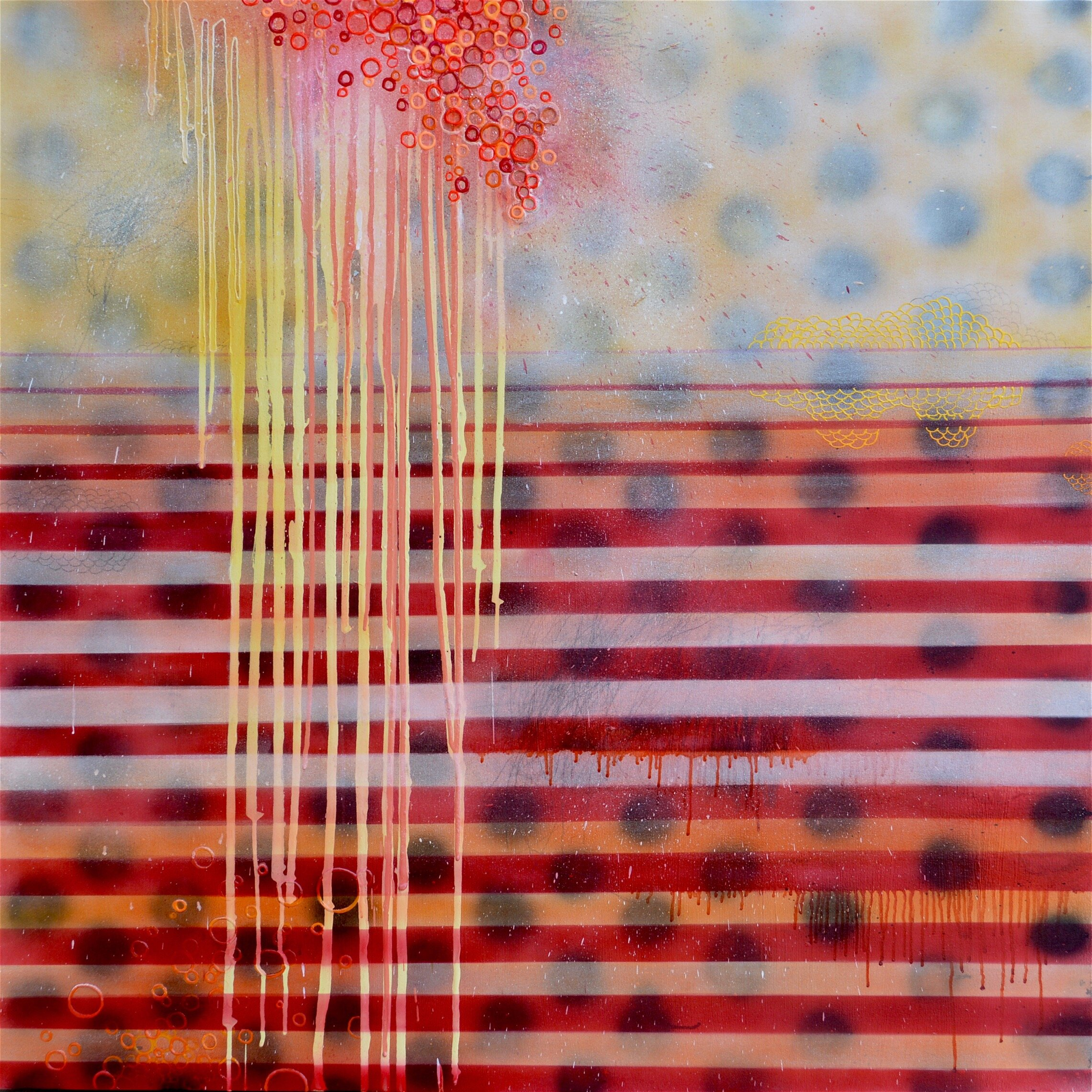 Constitutional Transformation, Acrylic paint, polymers, spray paint, 3-D puff paint, phosphorescent paint, glitter, nail polish, paper, and graphite on canvas, 48 x 48 inches