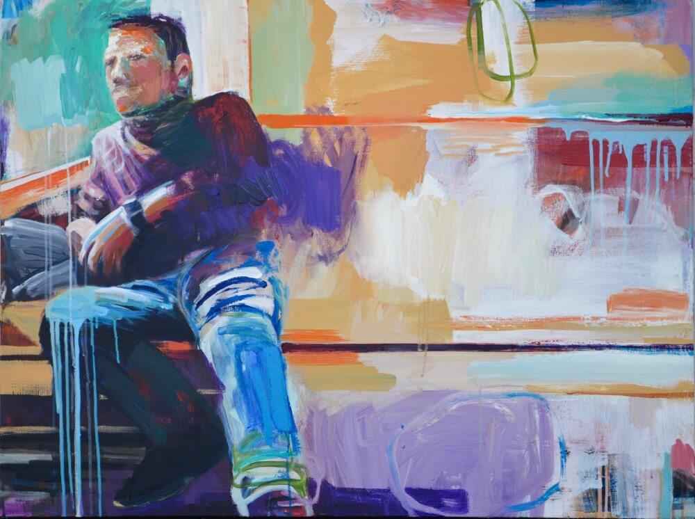 Waiting, Oil on Canvas-48 x 76 inches