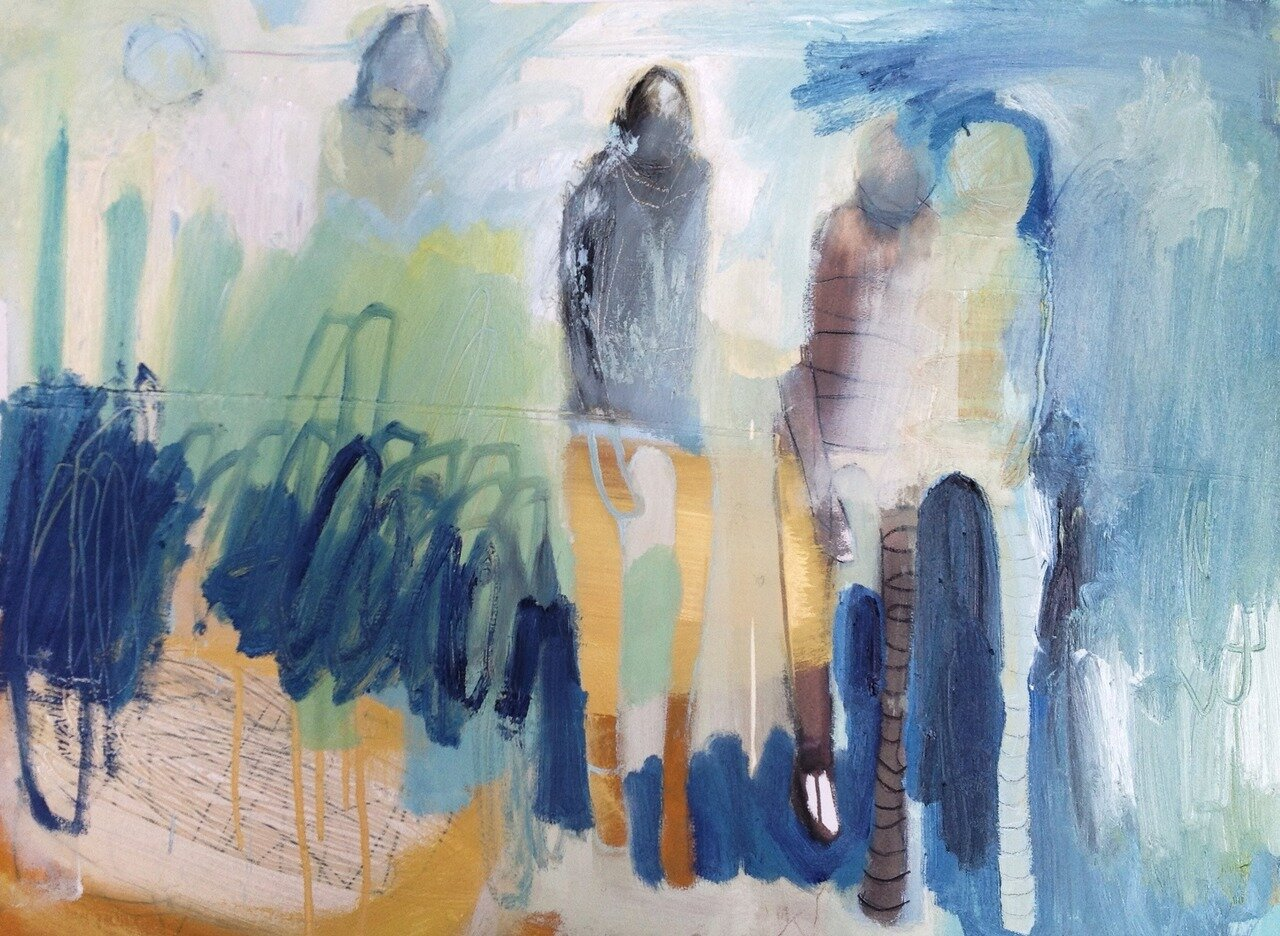 Two Places at Once, oil on paper, 28 x 32 inches,