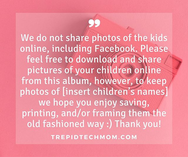 Asking others to help keep your child's digital footprint small doesn't have to be complicated. I ❤️ this example of how one parent politely shared their family's social media policy with others while inviting them to be part of a shared, online album. #childhoodunplugged #dadlife #dailyparenting #digitalparenting #fatherhood #digitalfootprint #fatherhoodunplugged #letthembelittle #MomLife #Motherhood #MotherhoodUnplugged #parenting #ParentLife #Parents #raisingthefuture  #SocialMedia #trepidtechmom #UnpluggedChildhood #modernparenting #momsofinstagram #screentime #parentingtips