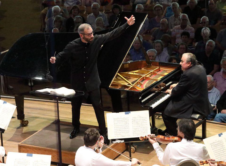 Dima Slobodeniouk led pianist Yefim Bronfman and the BSO on Sunday at Tanglewood.(HILARY SCOTT)