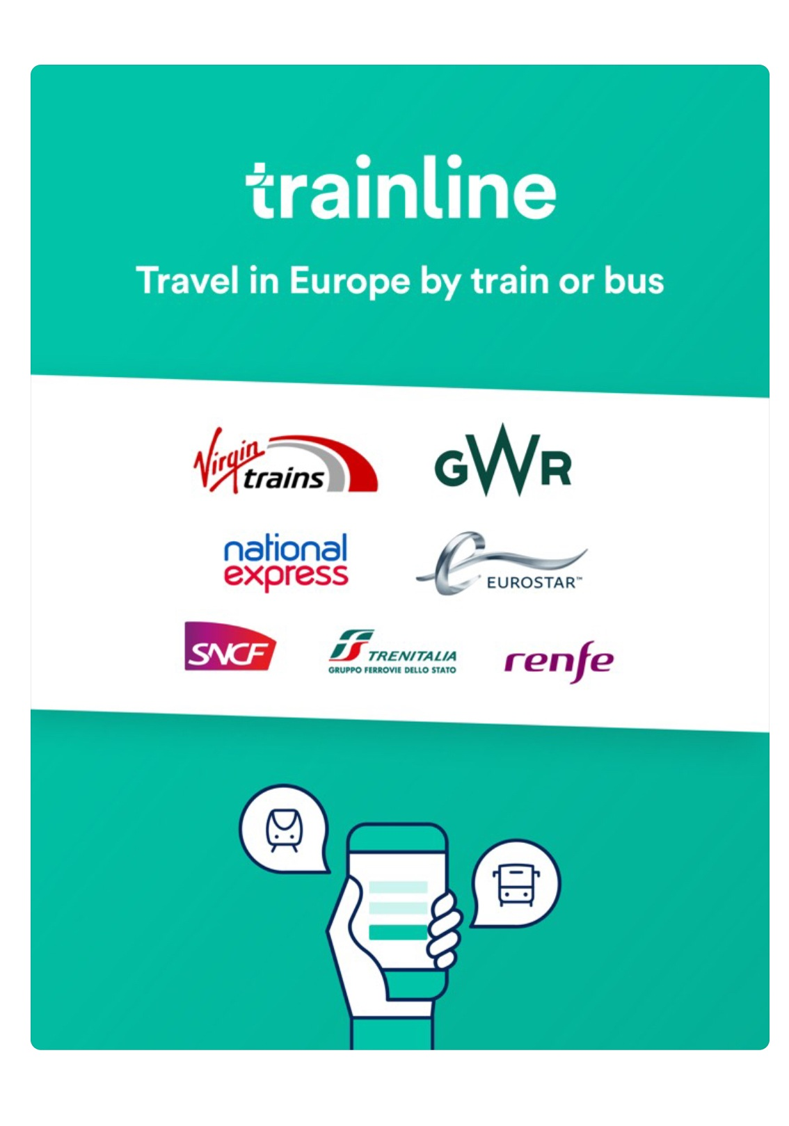 trainline: A search engine for train or bus prices. You can book tickets in this app. - May use multiple train lines/buses to get you to your destination.