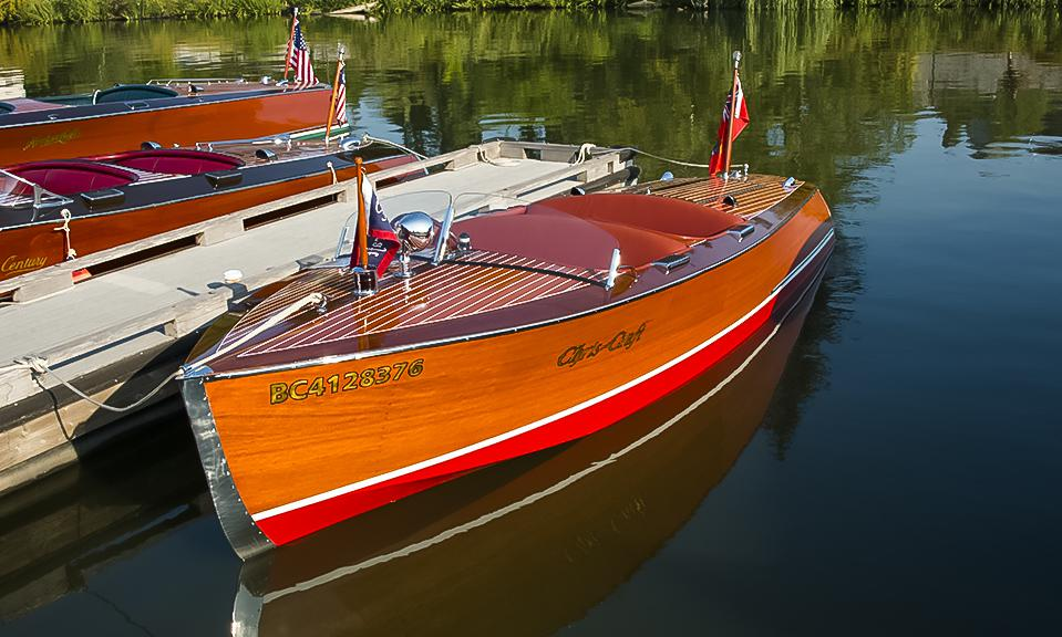 "- Steve and Louise Leslie from Mission, British Columbia brought down their 1942 Chris Craft Special Runabout. This was awarded the trophy for ""Best Amateur Restoration""."