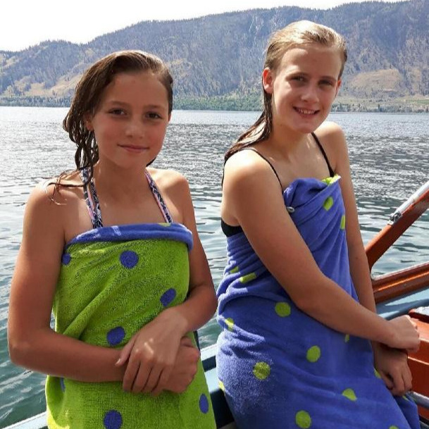 We have been on the water - three times since June 12th and we feel lucky as we were away the entire month of May. Each trip was beautiful weather on Lake Okanagan and we had a swim the last two times. Our granddaughter Lucia (on the right), and her friend Lila joined us on our latest ride. This picture shows a couple of happy gals after a cool and welcome dip.We have an hour meter on board so we can keep track of how much we are using our boat. During the last 2 years, our time on the water, with the motor running, totaled less than 4 hours. This was due mainly to the high levels of smoke in the Okanagan and that we missed the boat show last year. So far this year we have totaled 7.3 hours of run time with approximately 3 hours of additional time spent swimming or picnicking. This is a great start to our boating year and we hope to add many more hours of fun and enjoyment. As we all know, it is more fun to use our boats than to just own them.We do hope for many more good days of boating before we see you all at the Penticton show on September 27th thru 29th.