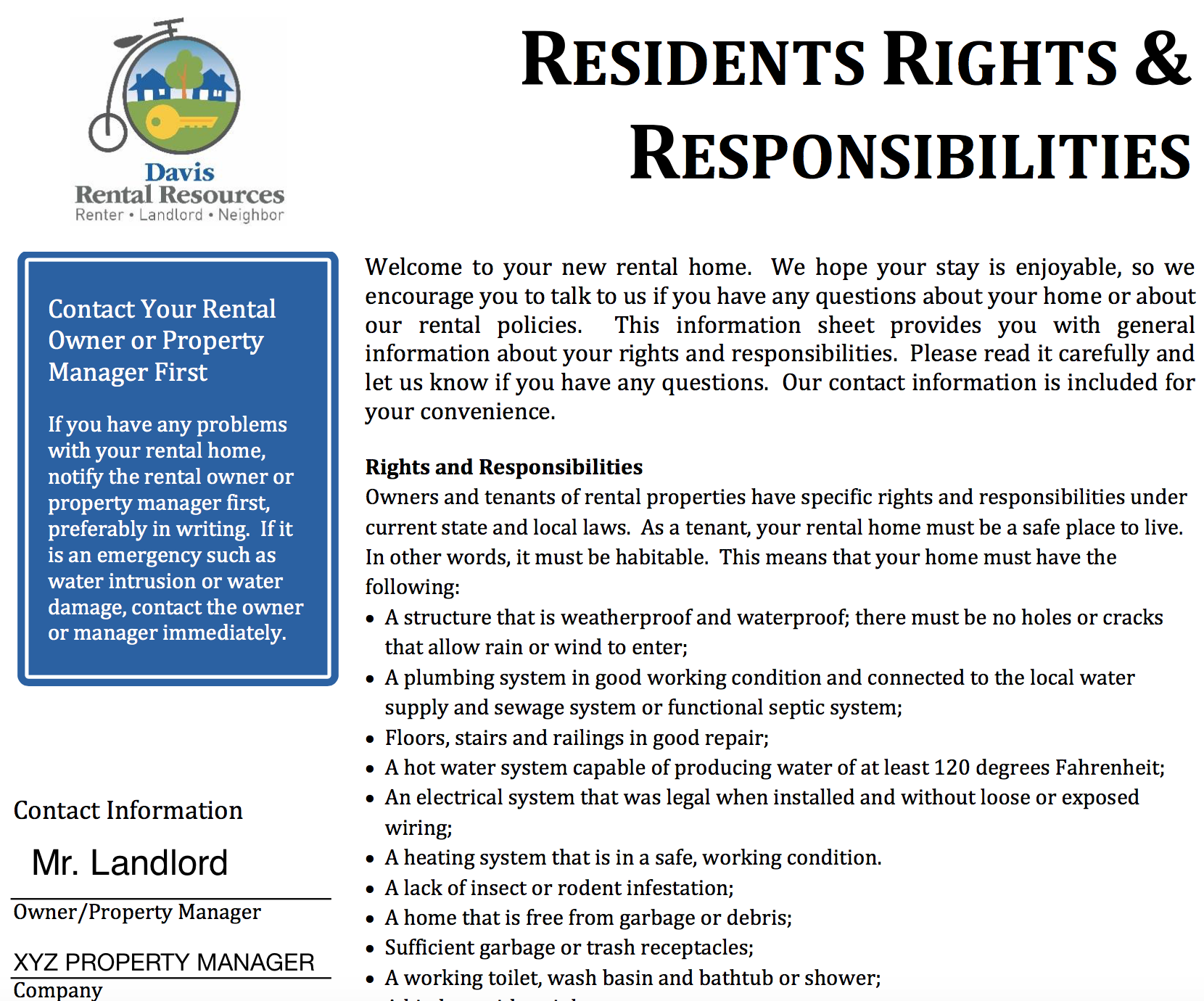 EXAMPLE - Request this from your landlord before signing a lease.