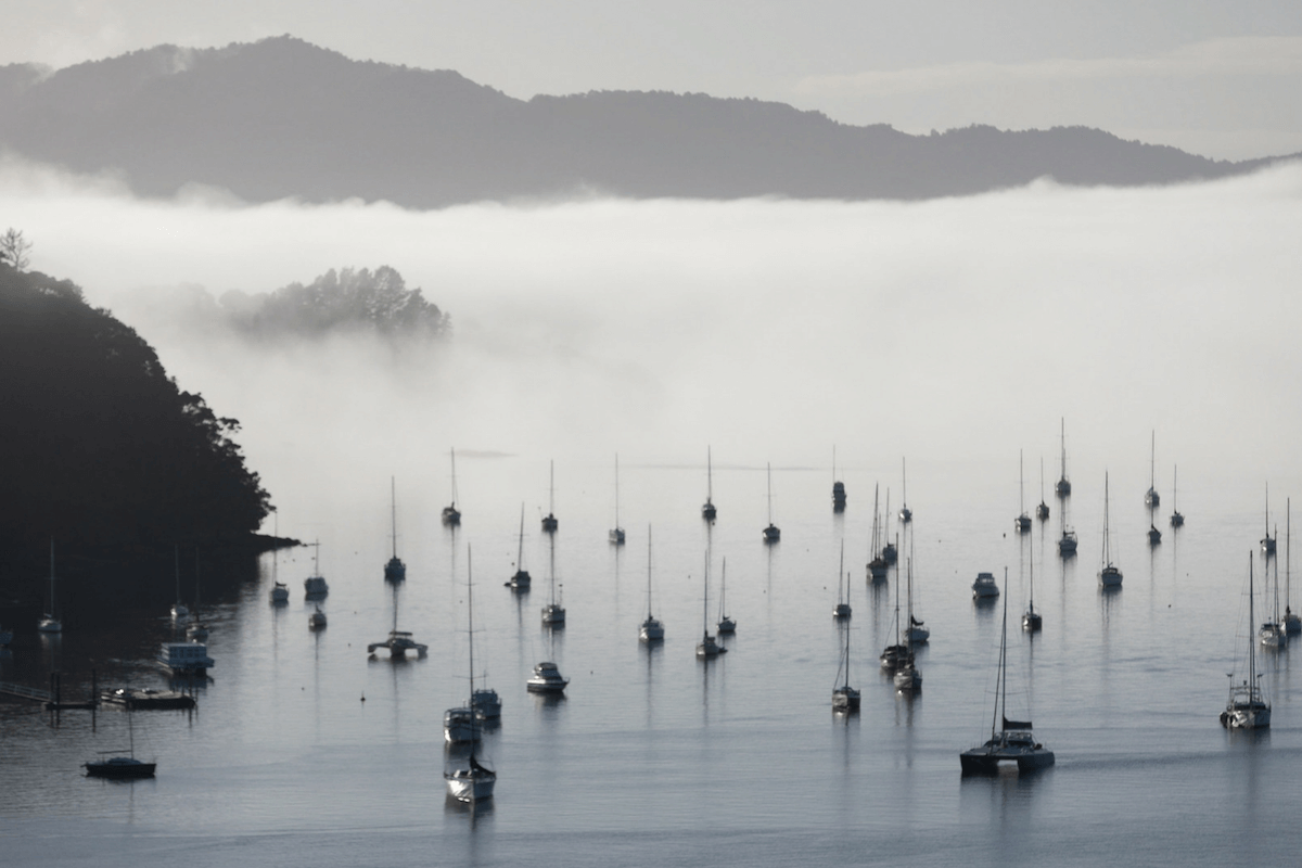Morning mist over a glassy ocean is a beautiful way to wake at Marina Cove.