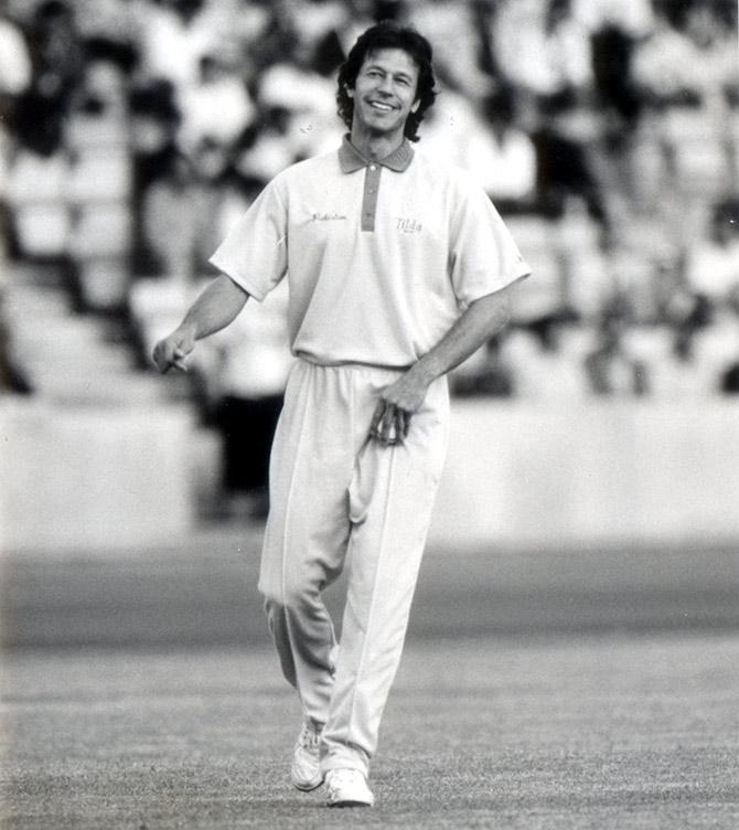 Image credit: Rediff.com - Imran Khan at an exhibition game at the Crystal Palace stadium, July 28, 1992.