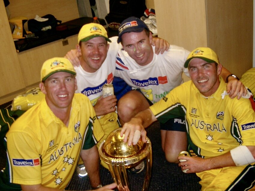 Jock Campbell with Ricky Ponting, Damian Martyn and Glenn McGrath after the 2003 World Cup win