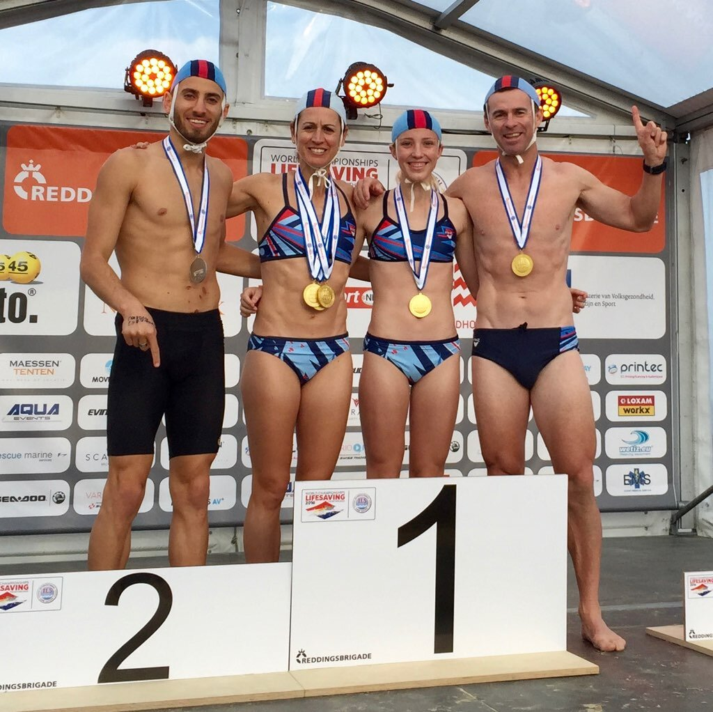 Jock at the 2016 Surf Lifesaving World Titles in Netherlands winning his first Masters World Title. Jock is present here with Chloe Gentle (Youth World Champion), Melissa Campbell (wife and Open World Champ) and Ali Najem (current World Champion)