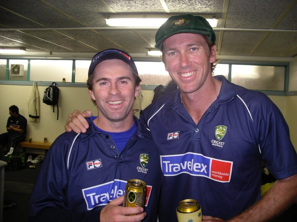 Jock with Glenn McGrath after winning the test series against New Zealand in 2005