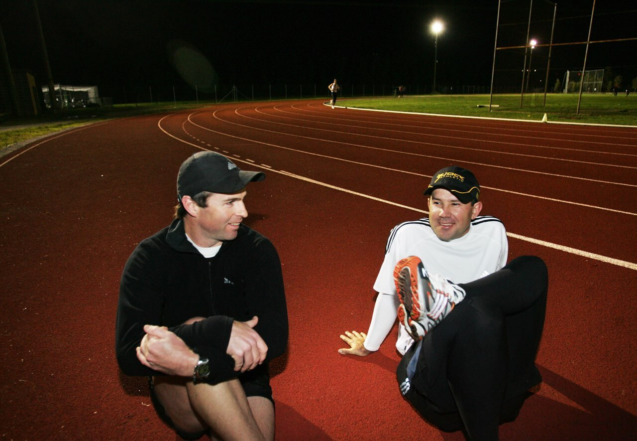 Ricky Ponting and Jock having a chat
