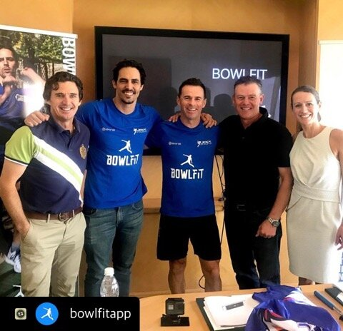 With the Bowlfit App team plus Brad Hogg. Mitchell Johnson, Jock, developer and co-owner Tony Hindle from TBone and CEO Melissa Campbell.