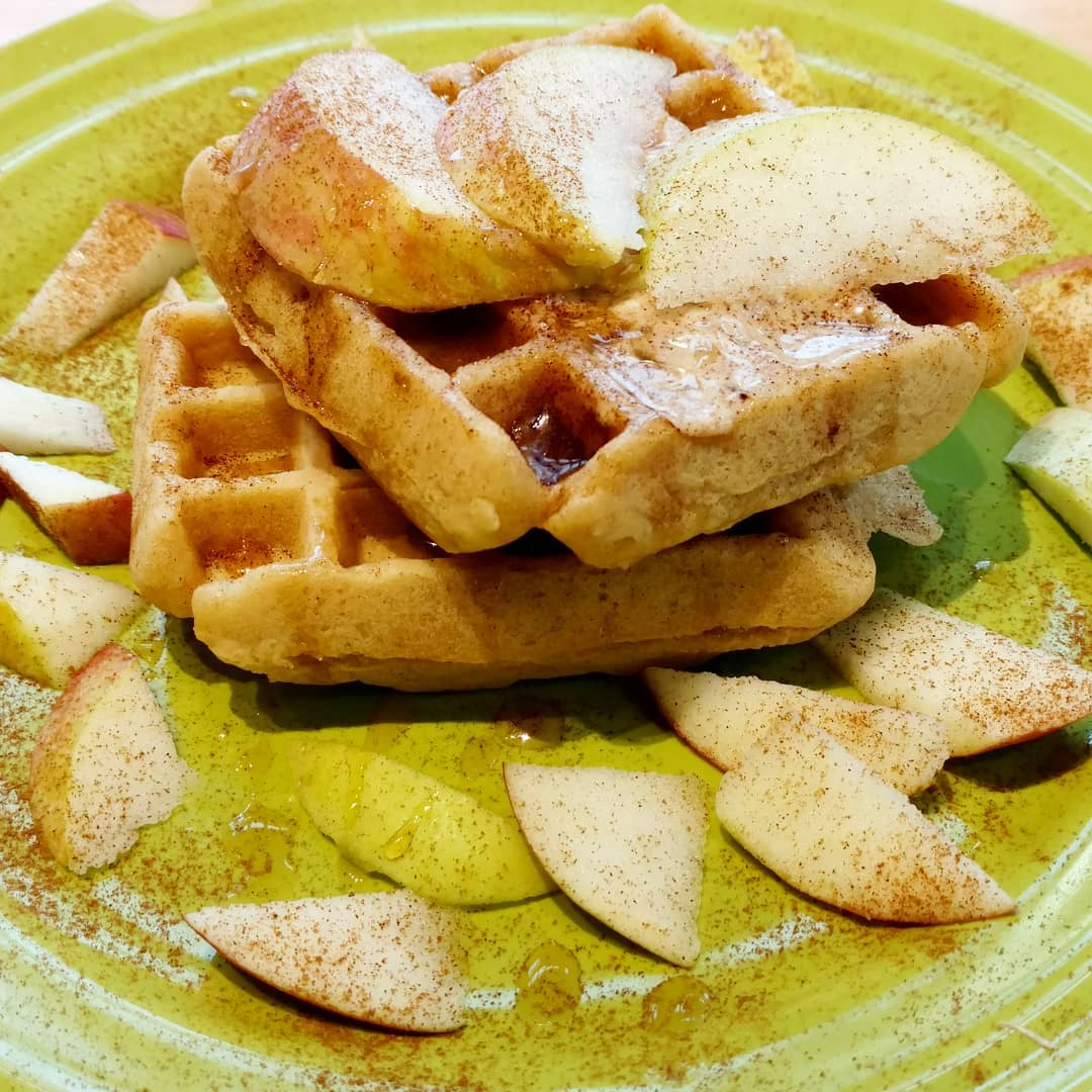 """Waffles (all day until we sell out) - The Vermonter- two fluffy waffles with local Vermont maple syrupTutti Fruitti – two fluffy waffles with seasonal fruit and Vermont maple SyrupSundae Funday- two fluffy waffles with a scoop of vanilla ice cream and ganacheChik'n N Waffles- two fluffy waffles with garlic mashed potatoes, house made gravy and crispy fried """"chik'n"""""""