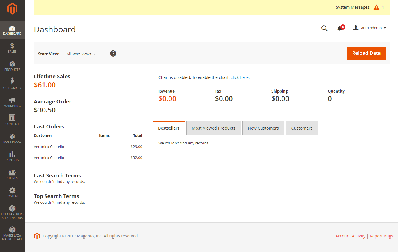 Magento 2 Backend Dashboard (New/User-Friendly)