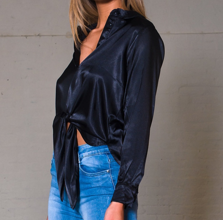 Tie Front Long Sleeve Shirt in Black - This is something I currently have in my basket and will be my next purchase. It's perfect for the summer as the fabric looks very light and cooling. If you're looking for that 'jeans and a nice top' outfit, then this is perfect.