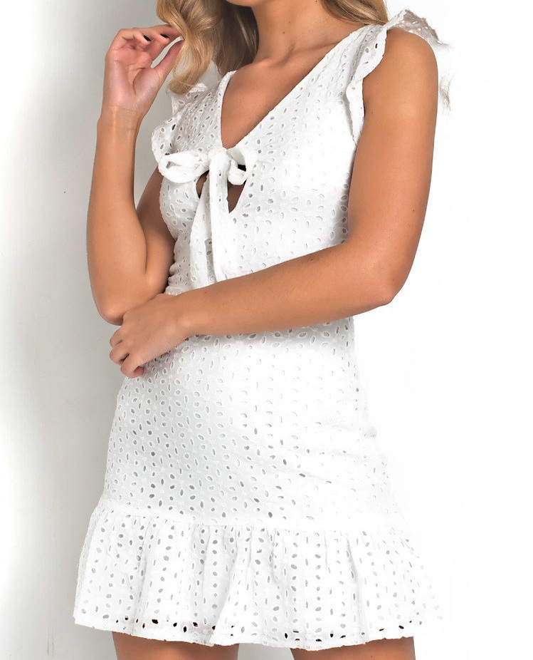 Crochet Lace Mini Dress in White - This dress is so pretty! I wish I'd seen it before I came away on holiday as it's the perfect summer getaway dress. As I'm in Rhodes and it's quite casual, I would have worn this as an evening outfit more so than a day outfit. I would pair it up with a straw bag, a delicate necklace and some sandals.