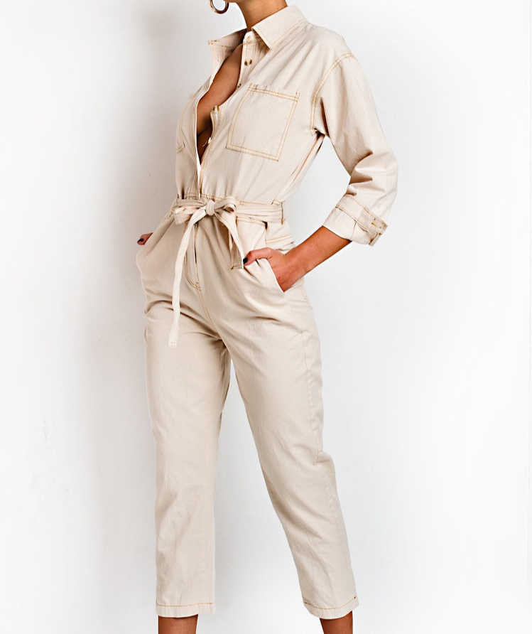 Tie Waist Button Up Utility Jumpsuit in Beige - I love this jumpsuit so much! I love the colour, the length, everything. I'm quite short so I often find that jumpsuits are too long for me which is fine but I'd rather not have to go through the hassle of trying to take them up every time. The length of these trousers are perfect as they can fit all different heights.
