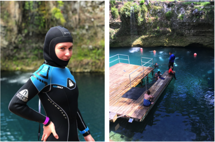Left – Me preparing for a dive in 72-degree spring water with a 5mm wetsuit and hooded vest. Right – Blue Grotto Dive Resort in Williston, FL. Photo: Bethany Gaffey