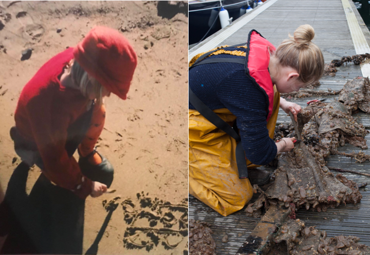 Left: Imogen as a toddler drawing in the sand. Right: Imogen conducting marine litter research at the University of Plymouth. Photos: Imogen Napper