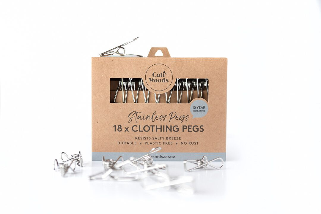 CaliWoods' plastic-free clothing pegs. Perfect for if your plastic ones break and need replacing. Photo: CaliWoods