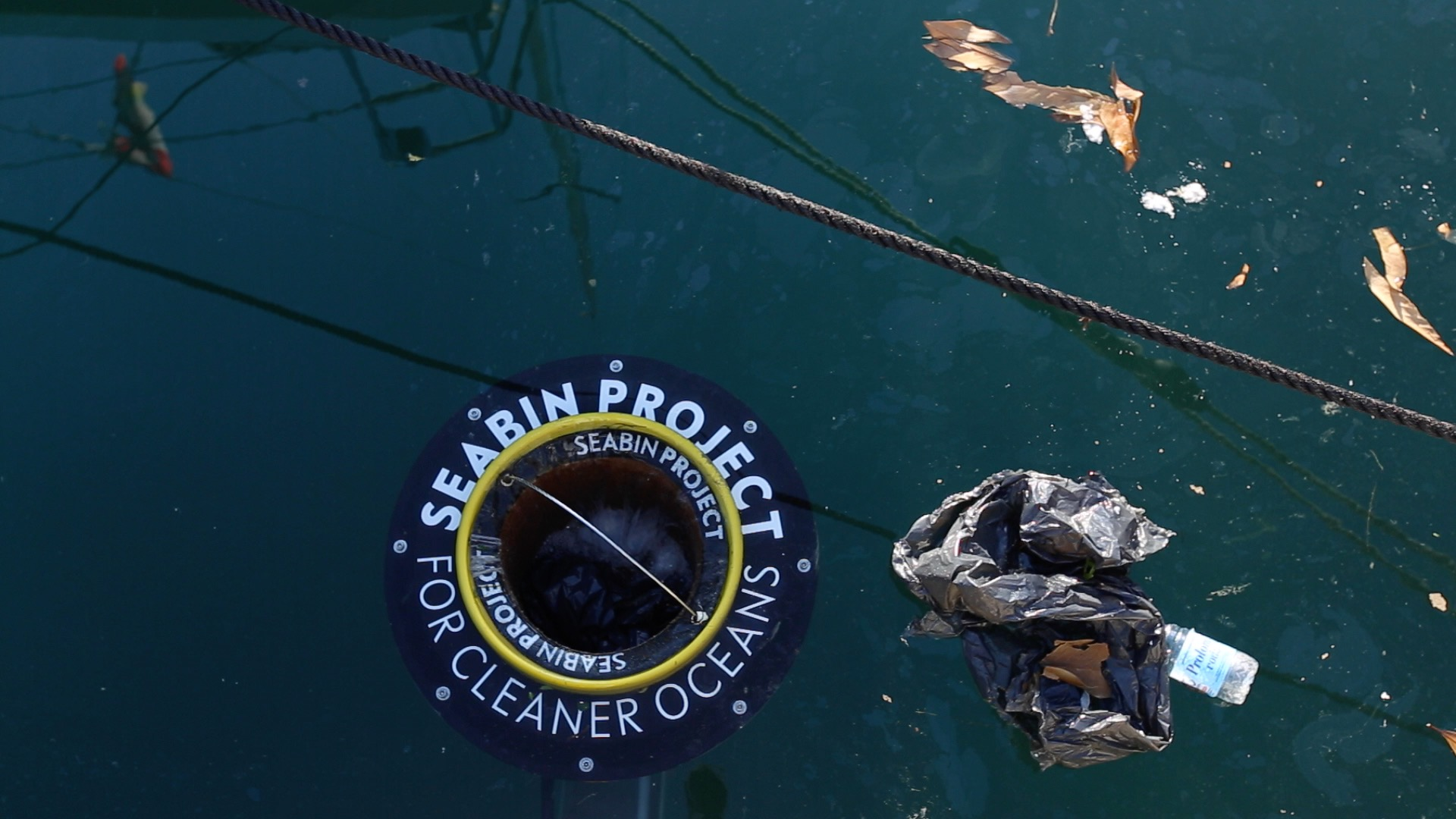 The Seabin in action, sucking out plastic in a harbour. Photo: Seabin Project