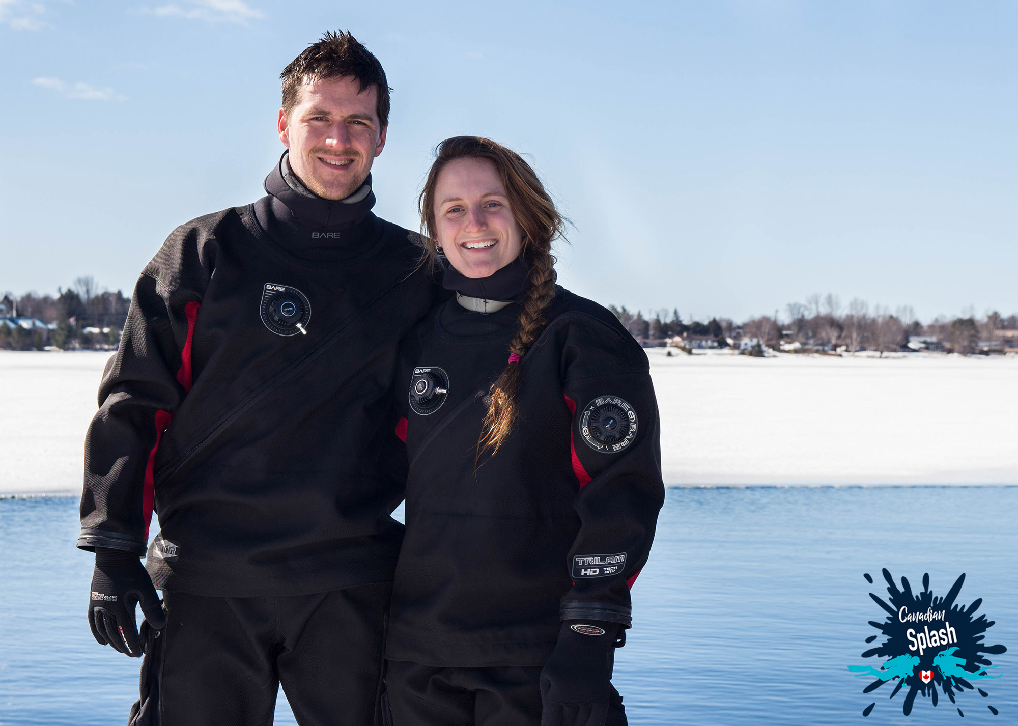 Joey and Ali, ready for the icy plunge. Photo: Canadian Splash
