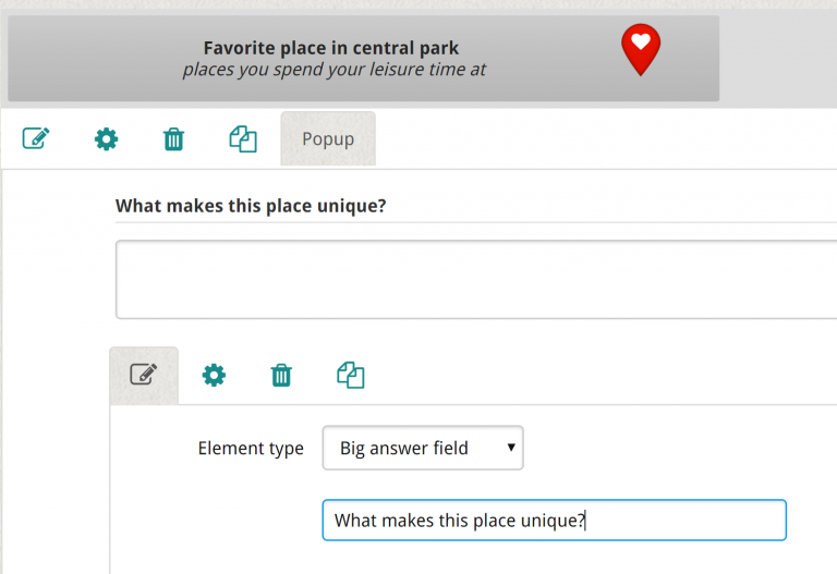 map-based engagement - pop up question maptionnaire
