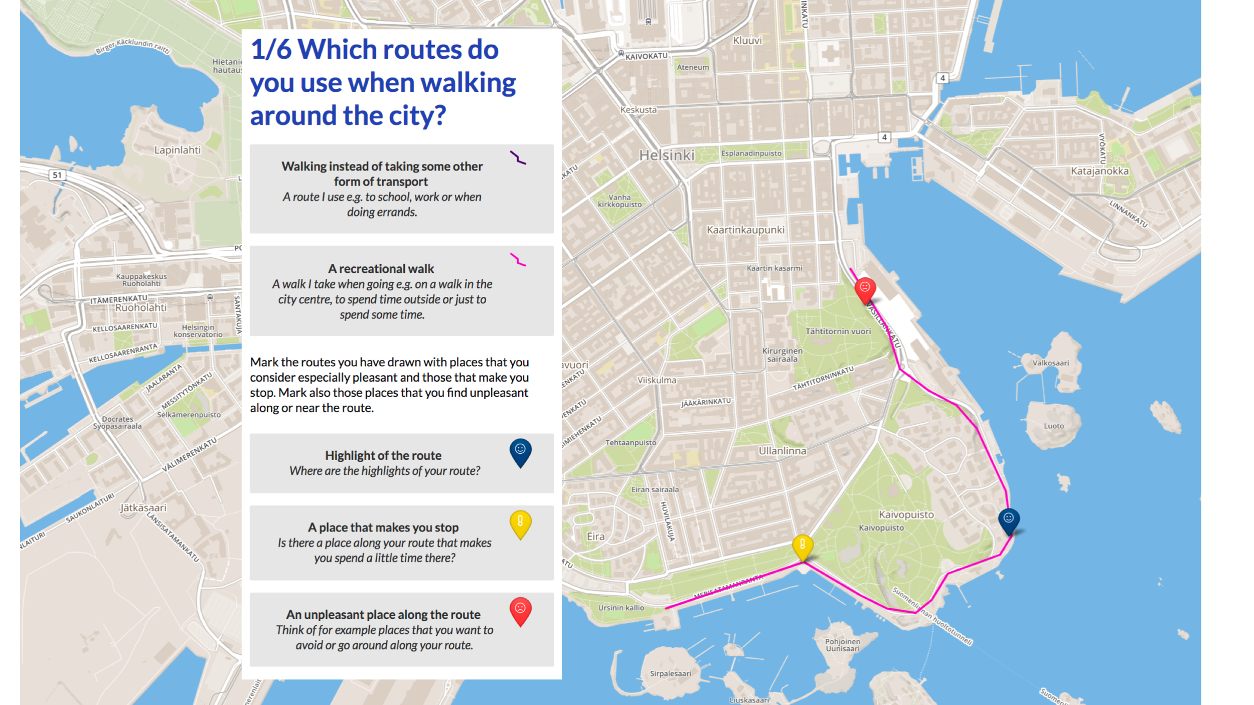 Picture 1: The respondents were asked to draw their everyday routes on a map. They could also mark places along their routes that they find unpleasant as well as the highlights of the routes or places that make them stop.