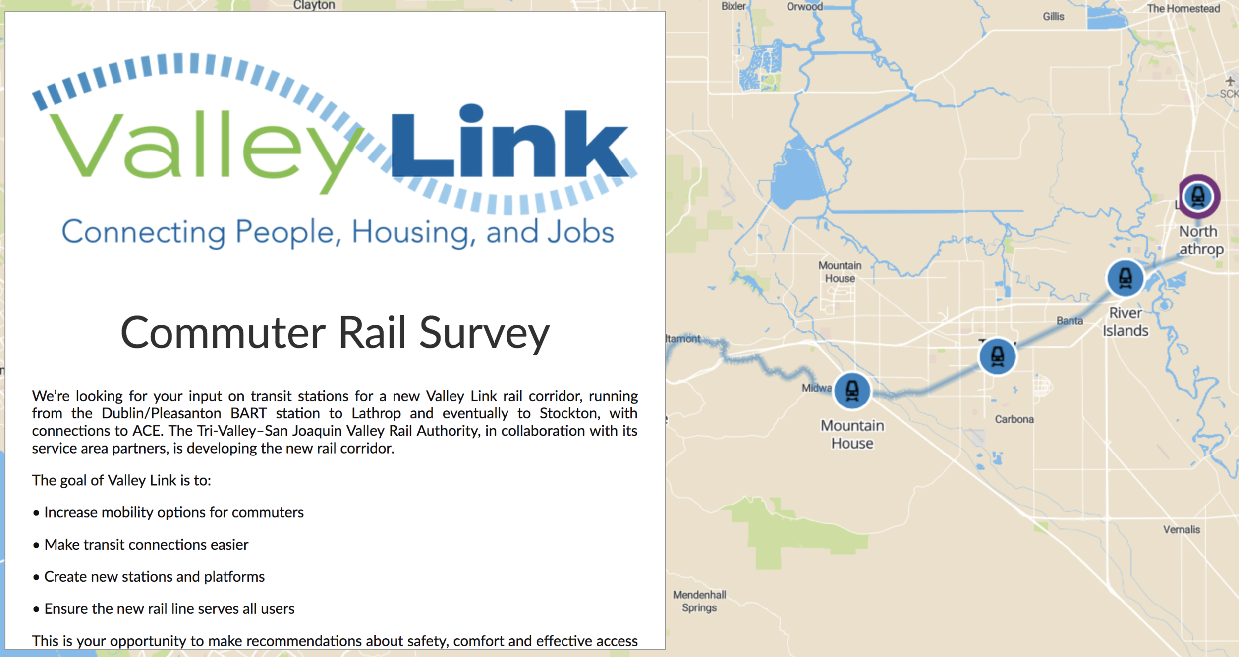 The Valley Link rail corridor development was supported by a visual survey. In the survey they used a customized background map that replicates a conceptual map of the commuter rail network.