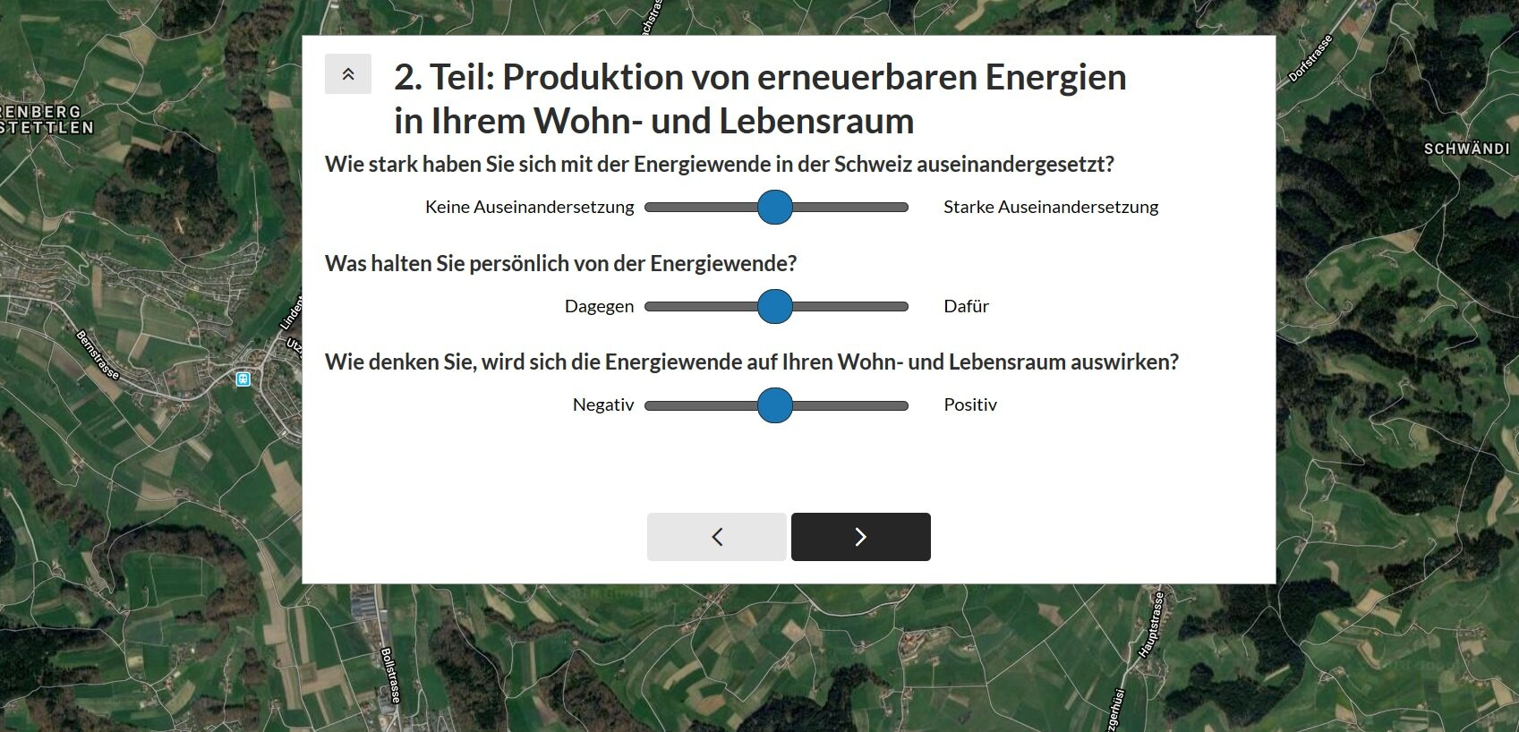 People could indicate how positively or negatively they felt about renewable energies in Switzerland.