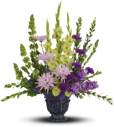 Cherished Memories    The serenely beautiful bouquet includes green gladioli, lavender stock, green carnations, purple carnations, lavender spider chrysanthemums, bells of Ireland and purple sinuata statice, accented with assorted greenery. Delivered in a timeless tribute urn.    Buy Now>>