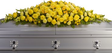 Graceful Grandeur Casket Spray    Joyous times and golden memories are recalled with this lovely half-couch casket spray that consoles the bereaved with a sunny array of beautiful blooms.    Shop Now>>
