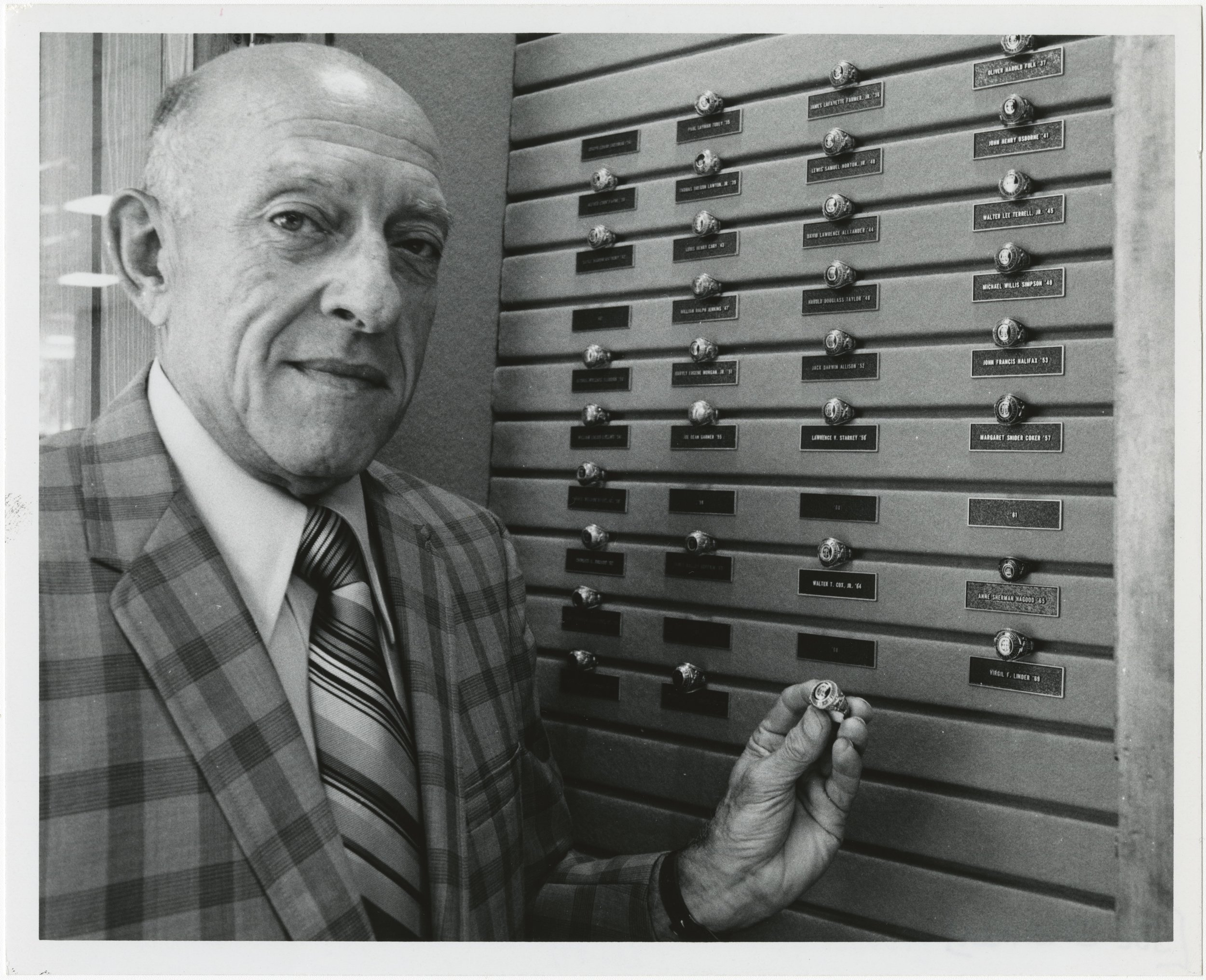 Joe Sherman at class ring collection in Alumni Center (1973)