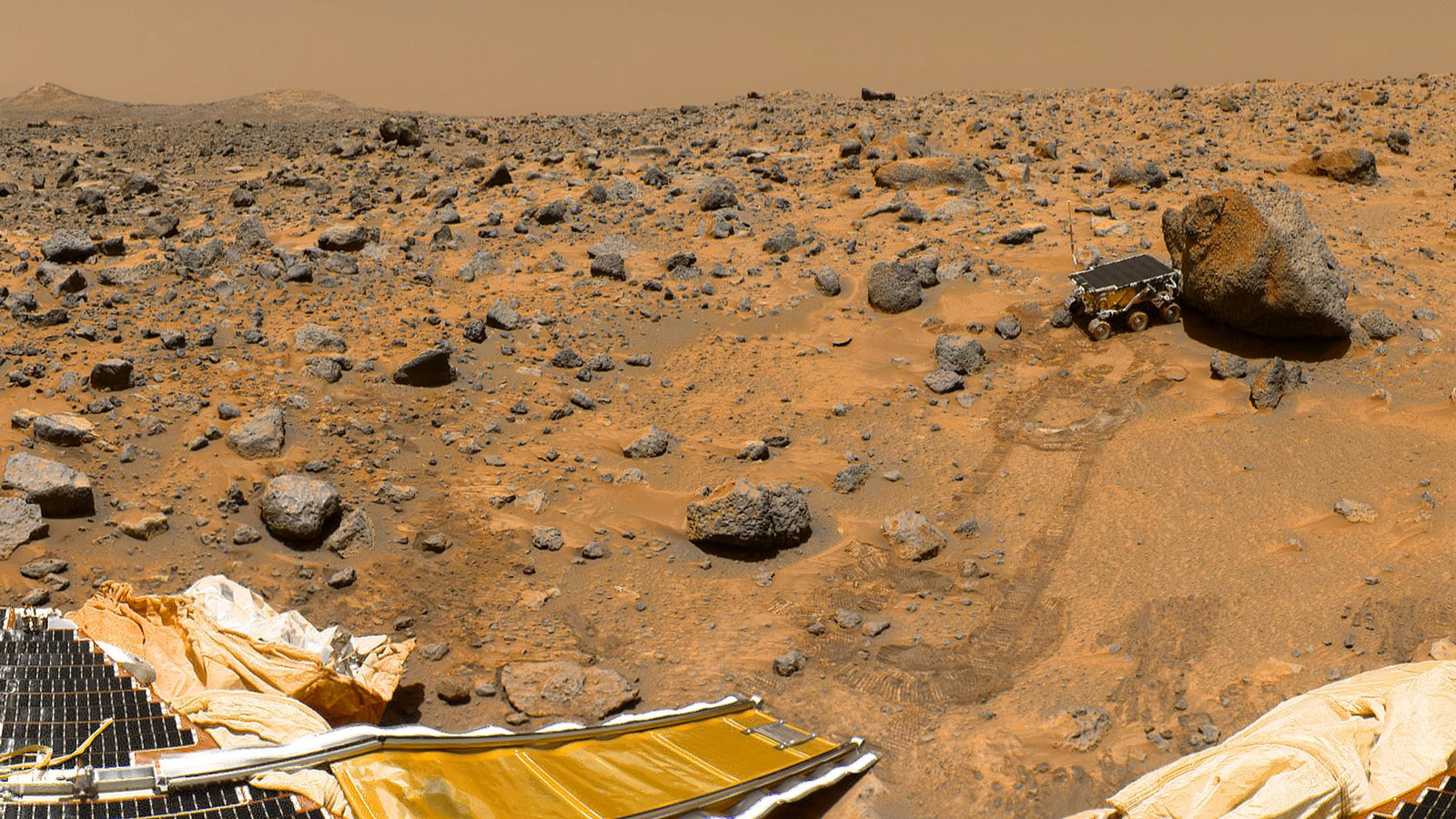 The rust-red Martian surface photographed by NASA's Pathfinder Rover, currently exploring the Martian surface. Photo credit: NASA