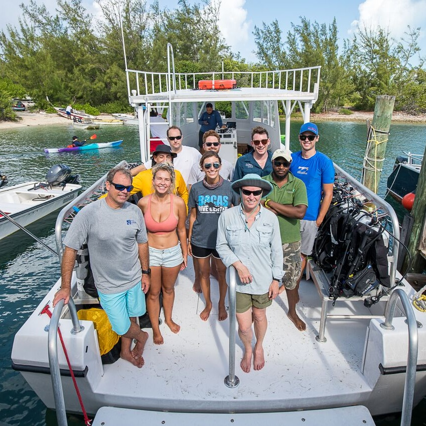 Our group of coral researchers, ready to observe spawning off the coast of Eleuthera in the Bahamas. This team includes researchers from SECORE International, the Perry Institute of Marine Science, The Nature Conservancy, Shedd Aquarium, the California Academy of Sciences, the University of Miami, NOVA Southeastern University, the Henry Doorly Zoo & Aquarium, and the Pittsburgh Zoo. Photo: Paul Selvaggio