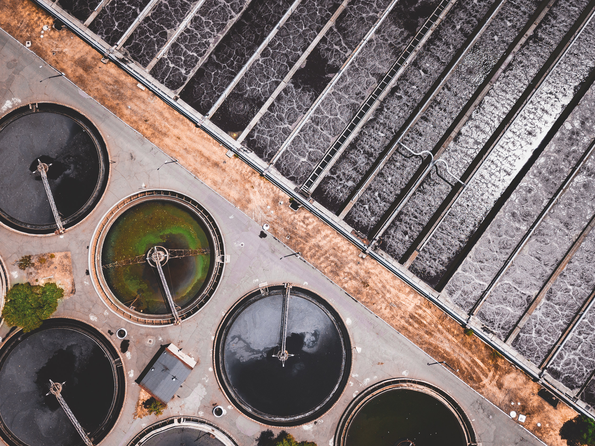 The recycling of wastewater in sewage treatment plants like this one decreases pollution of the environment while increasing production of fertilizers and energy. Photo credit: Ivan Bandura