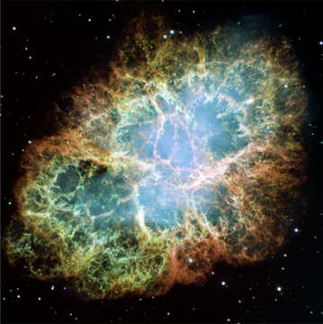 A supernova remnant of a star in the constellation Taurus, resulting in the Crab Nebula. Photo credit: NASA