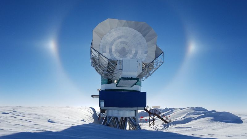 The South Pole Telescope in Antarctica is another player in the EHT array, and the most remote. Photo credit: Junhan Kim