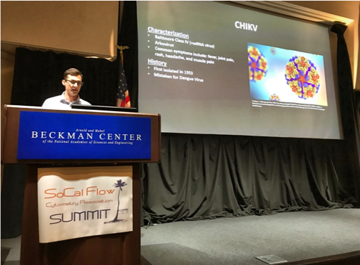 My final presentation of the year was at the University of California Irvine at the Southern California Flow Cytometry conference. This photo was taken by a member of my lab as I was explaining some facts about Chikungunya.