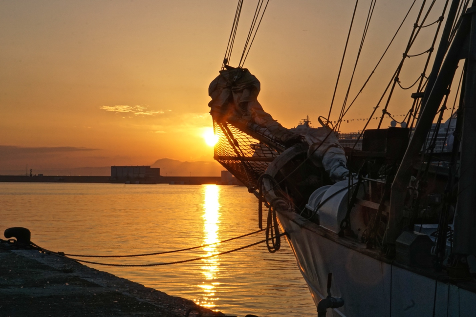 The  SSV Corwith Cramer  sits docked in Palma de Mallorca during a golden hour sunset. Photo credit:  Jared Moelaart