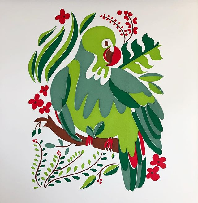 """a parrot is green wherever it goes."" . . .  #printmaking#proverbs#parrot#prints#lbart#longbeachart#madebylj#dudewheresmyreed#green#red#silkscreening#screenprint#lauransotoart"