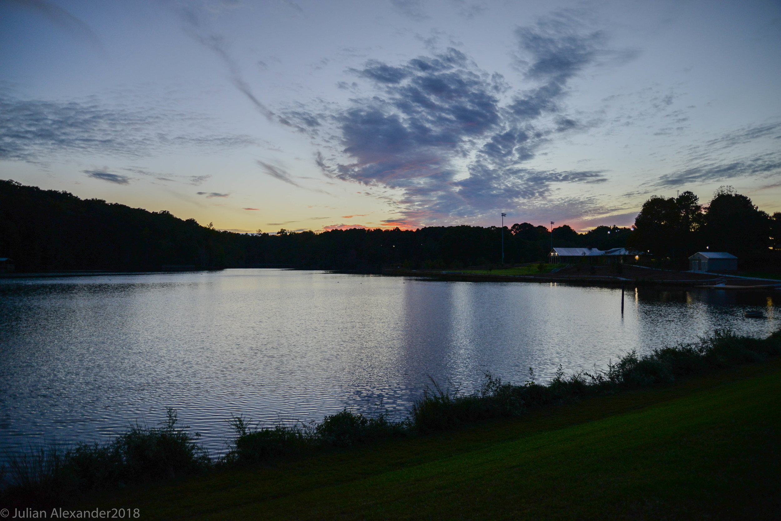 Lake Herrick as seen at dusk on Oct. 17, 2018 in Athens, Georgia. Lake Herrick is part of the University of Georgia intramural fields complex. (Photo/Julian Alexander)