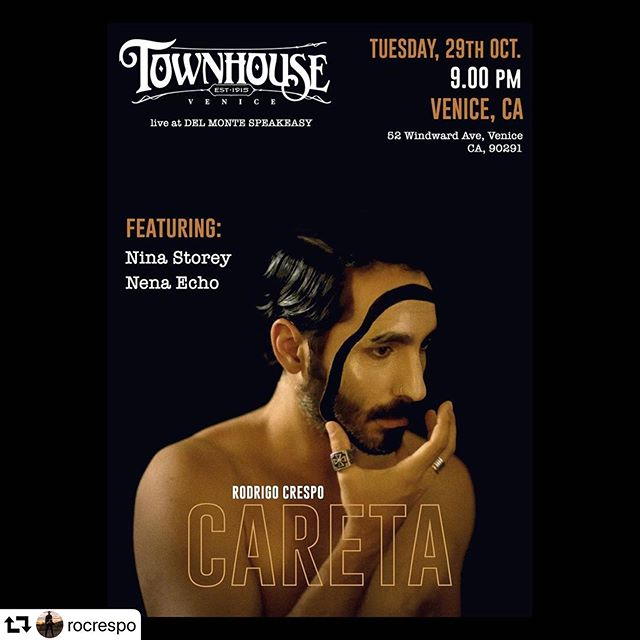 Tonight! Playing with @rocrespo @aschinoff @tuntuncha  #repost @rocrespo ・・・ Se viene un show memorable, otra presentacion de #careta #envivo este próximo 29 de Octubre en el #delmontespeakeasy de #venicebeach  Voy a estar compartiendo escenario con @ninastorey & @nenaecho_ y me va a estar acompañando mi banda de lujo con @tuntuncha @aschinoff y @martindelahaye así que a todos nuestros amigos de LA los esperamos ahí a las 9pm! /// Another great show is coming, I'll be playing with my full band and sharing the stage with #ninastorey & #nenaecho so if you guys are in LA don't miss it! As always thanks to @calamitycowden and @nico_borromeo for putting all this together!!! 🙏🏼