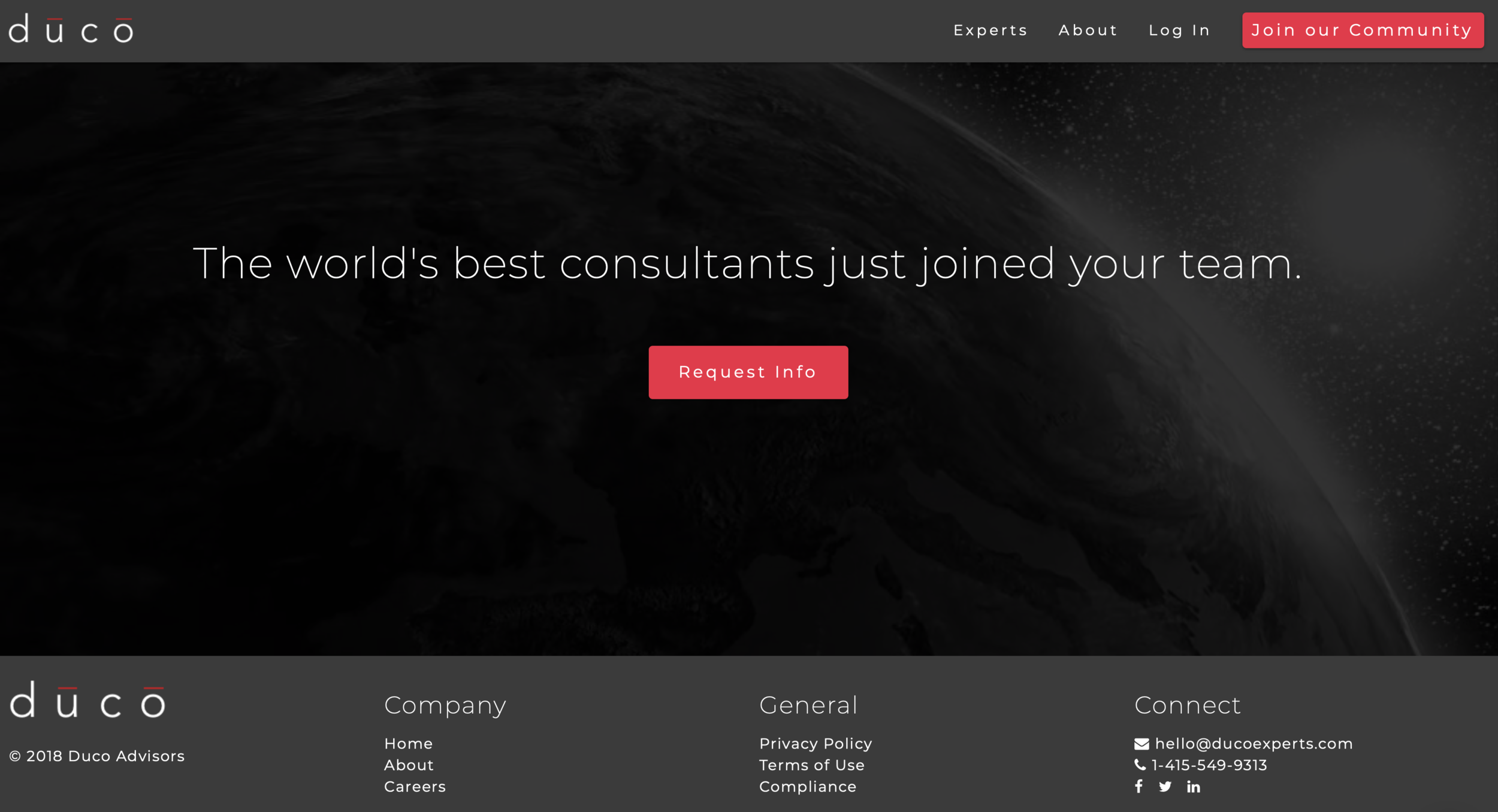 DUCO - Description: Duco is an online gig economy platform that directly connects businesses with high-end consultants. Need to talk to a former high-level U.S. Treasury official about trade policy when assessing a new international investment prospect? No problem. Need a blockchain specialist to explain how the spread of that technology could impact your company? It's a few clicks away. Pick any arena of elite, high-value knowledge and you can find an expert on Duco in minutes at a fraction of the cost of massive global consulting services.Regulatory Challenge: The flow of high-end information is intensely regulated. Subversive will guide Duco as it grows.