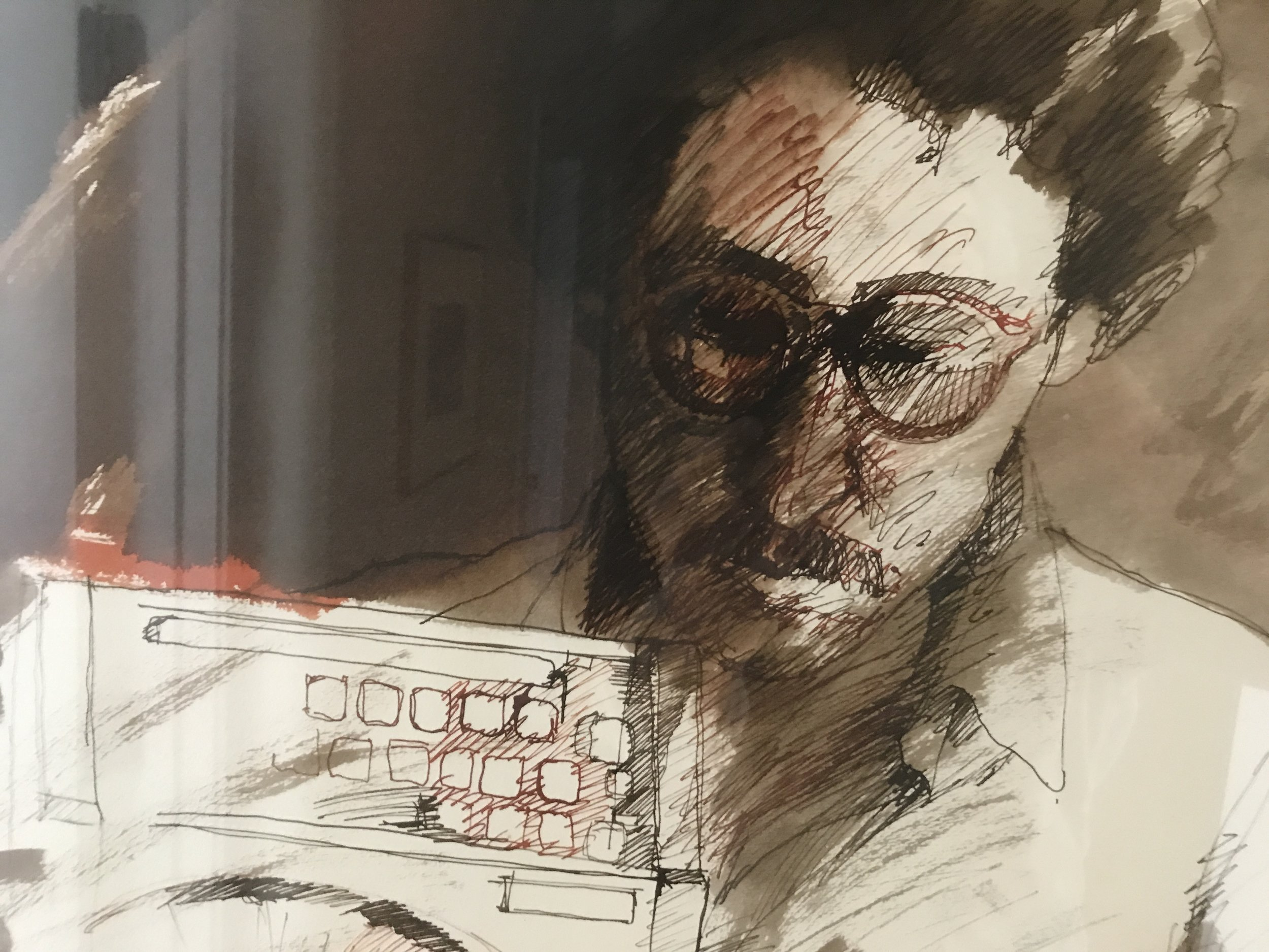 Laurence's portrait with Olivetti Lettera 22 typewriter, by Ricardo Van Steen