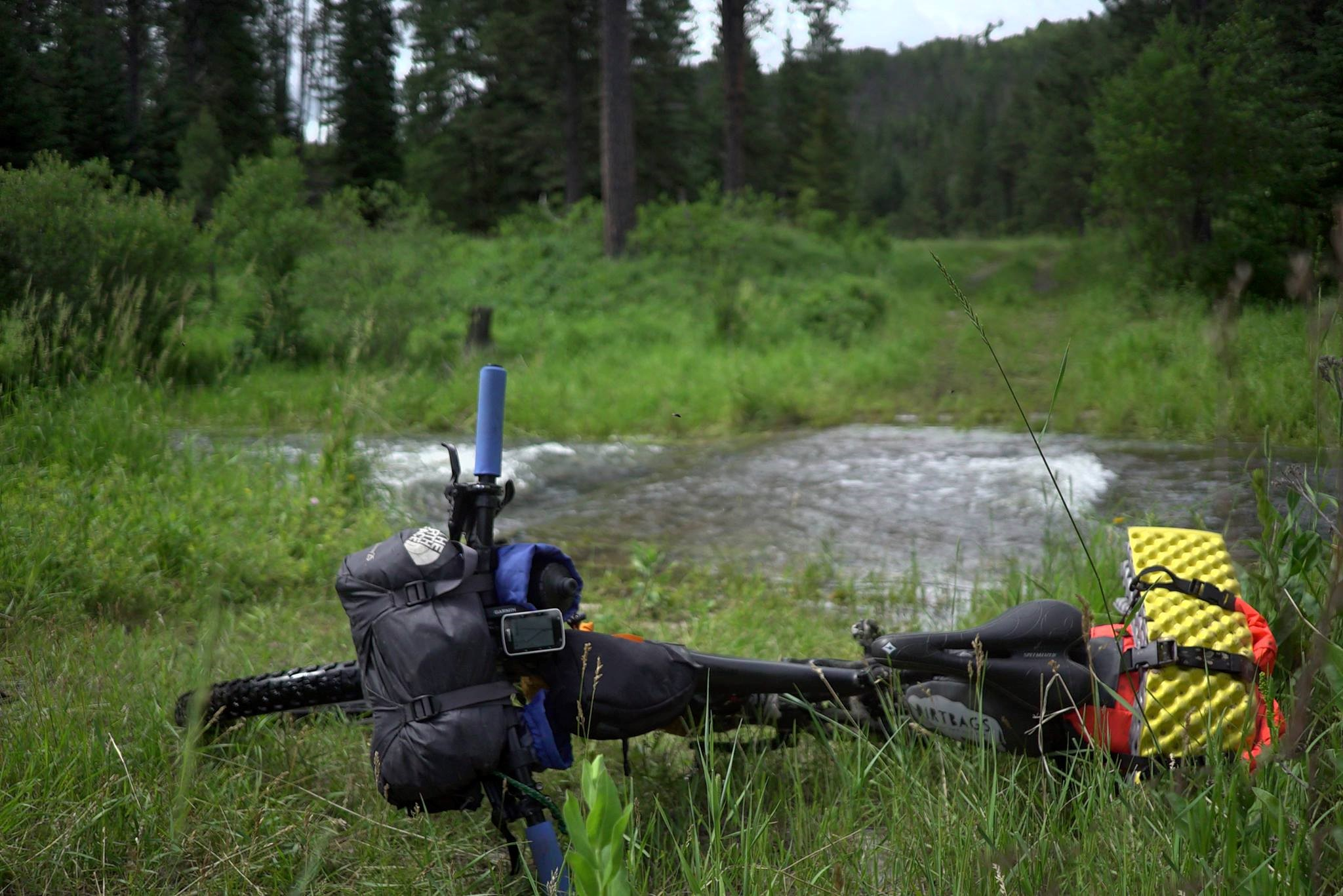 A fully loaded bike on the side of Castle Creek, near Mystic, SD