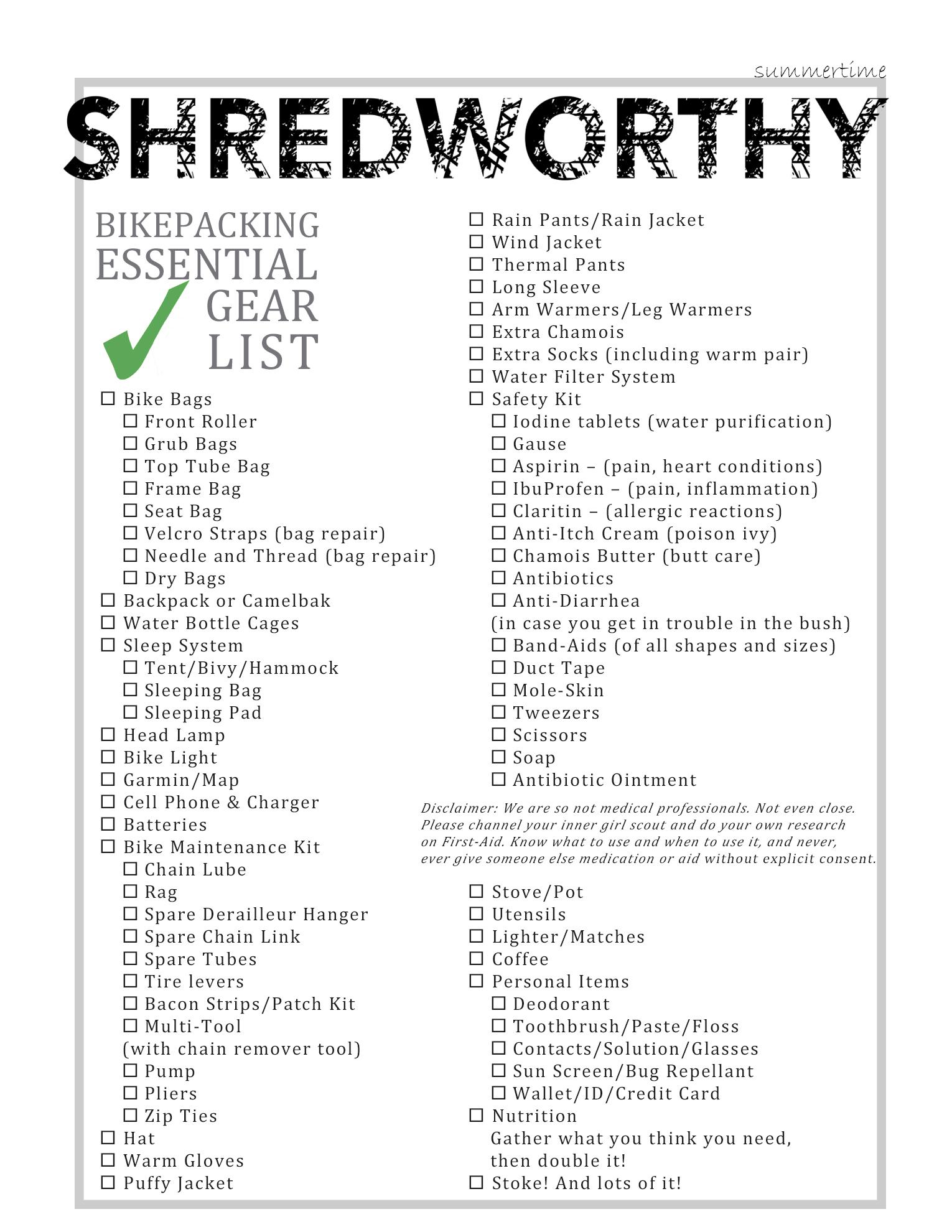 Bikepacking Essential Gear Checklist