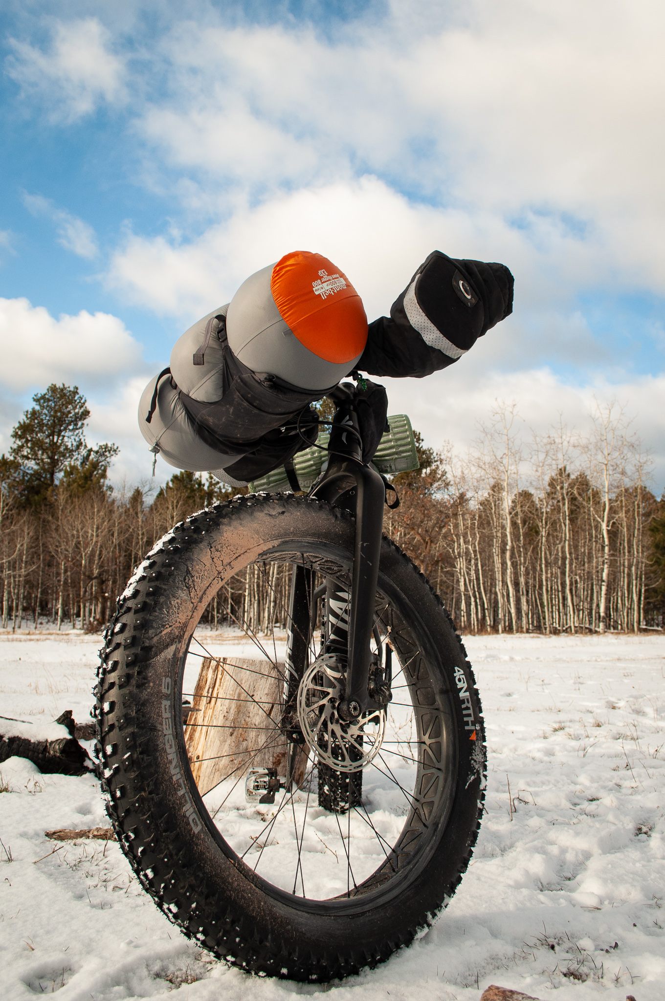 45NRTH Dillinger 5's - featured on a Specialized FatBoy and tearing through the first snow of the season