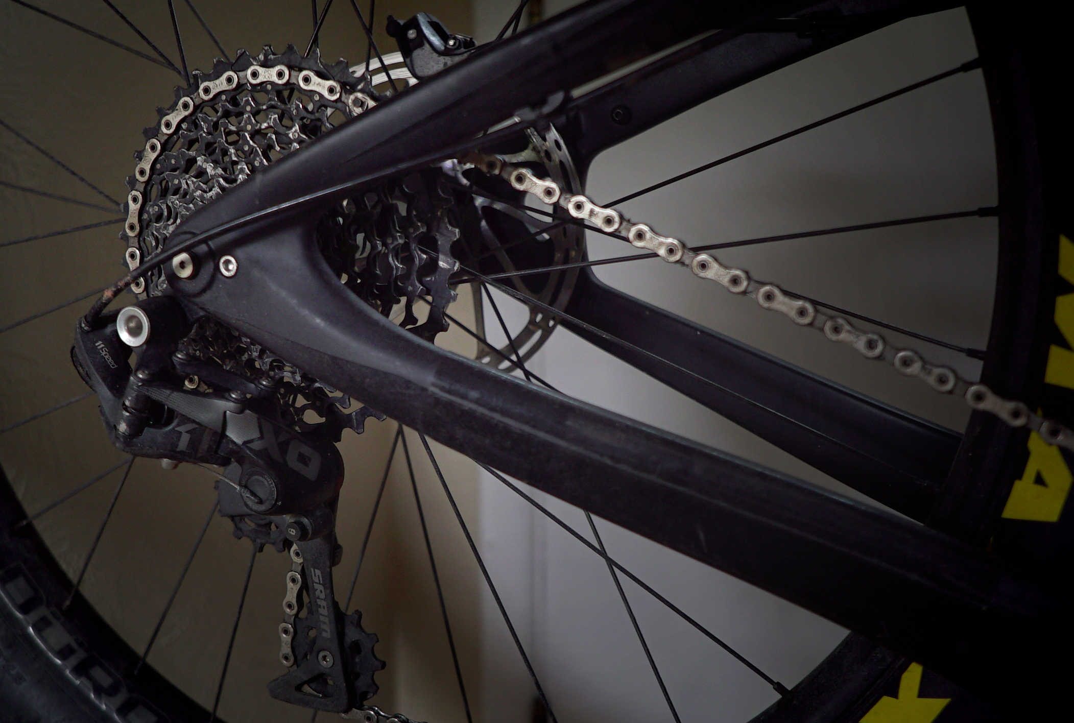 SRAM X0 1 x 11 Drivetrain: - I have run into a little bit of difficulty finding the drivetrain set up that I want for this new bike. Because no one seems to manufacture a 32 tooth chainring with a -4 mm offset, I have maintained my 11 speed drivetrain rather than converting to 12. This will have to do for now.